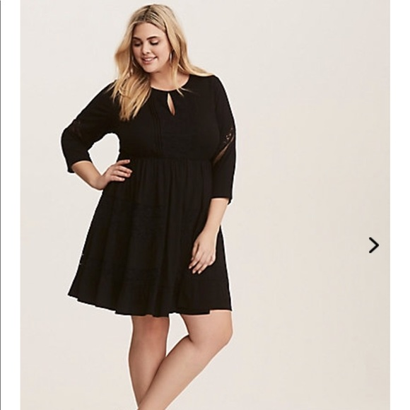a55ba5c8057 Torrid Black Lace Long Sleeve Challis Skater Dress